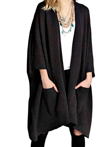 RIDDLE MET STYLE Womens Gebreide Open Poncho Vest Cape Dames Zip Up Pocket Top Nieuwe 8-18